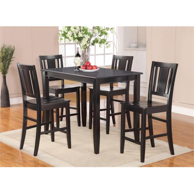 East West Furniture BUCK5-BLK-W 5 -Piece Buckland Counter Height Table 30 in. x48 in. & 4 Stools with Wood seat in Black Finish