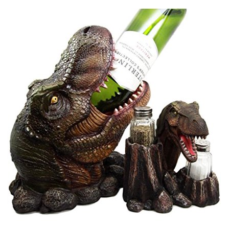 Atlantic Collectibles Prehistoric Dinosaur T-Rex Head Wine Bottle And Salt Pepper Shakers Holder Figurine Set - Pepper Head