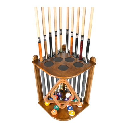 Pool Cue Rack Only - 10  Billiard Stick and Ball Floor Rack - Holder Oak Finish