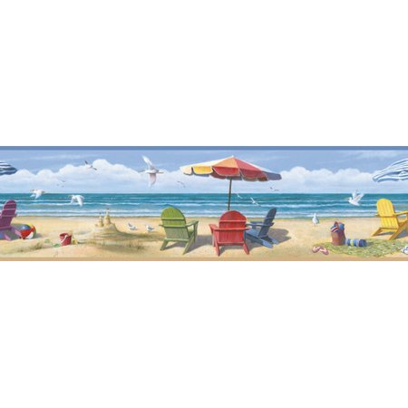 Brewster Home Fashions Borders by Chesapeake Lori Summer Beach Portrait 15' x 9'' Scenic 3D Embossed Border Wallpaper (Christian Blue Border)