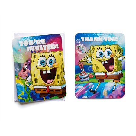 SpongeBob SquarePants Party Invite and Thank You Combo Pack, 8ct - Bomb Party