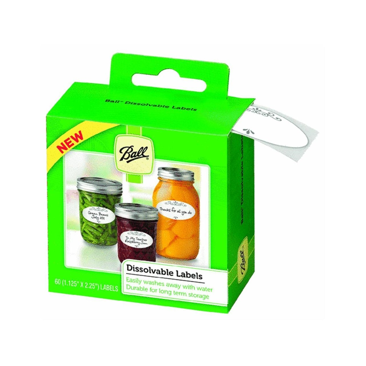 Ball Dissolvable Canning Labels 60labels each, Pack of 6 by Jarden Home Brands