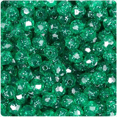 - BeadTin Emerald Sparkle 8mm Faceted Round Craft Beads (450pcs)