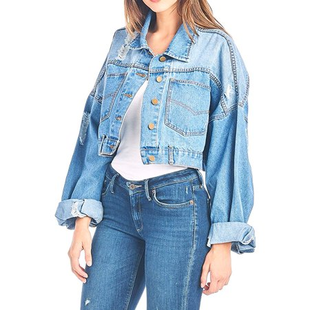Tough Cookie's Women's Premium Vintage Washed Distressed Crop Denim Jacket