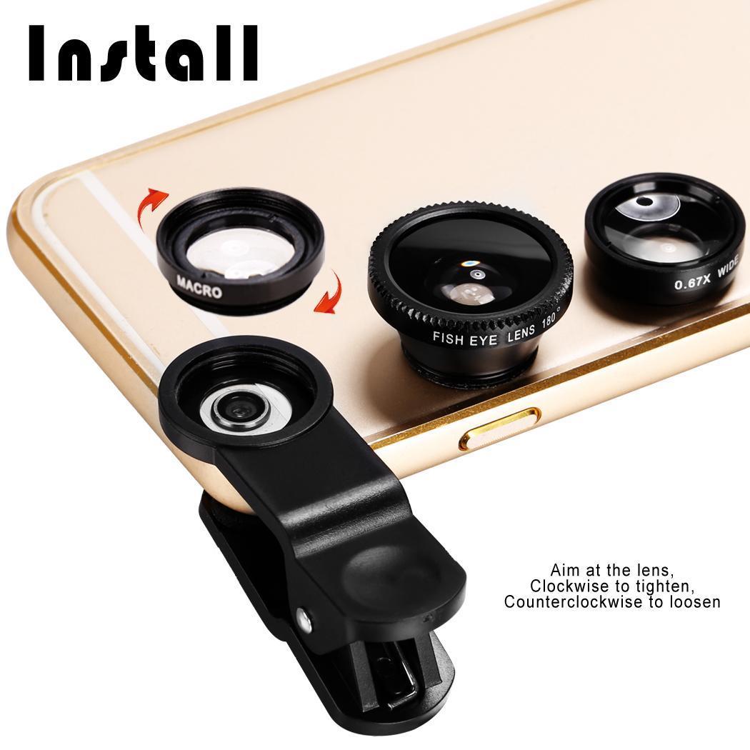 I-Sonite Black Mobile Phone Universal Camera Lens 3 in 1 Kit Wide Angle + Fisheye + Macro Lens For HP Chromebook x2