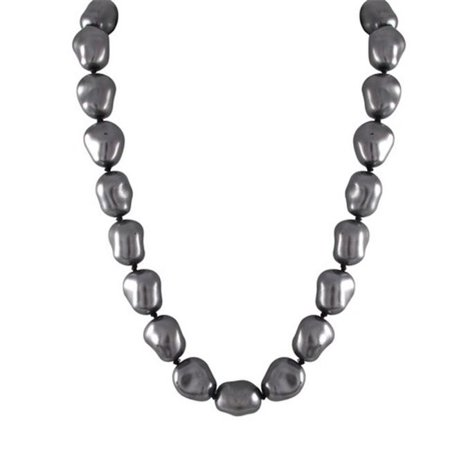 Glass Grey 12 x 15 Baroque Pearl Necklace, 16 in. - Gray Baroque Pearl