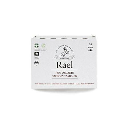 - Rael 100% Organic Cotton Applicator Free Tampons, Super, 18 Count