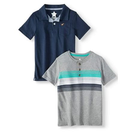 Polo Shirt & Henley Shirt, 2-Piece Multi-Pack (Little Boys & Big -