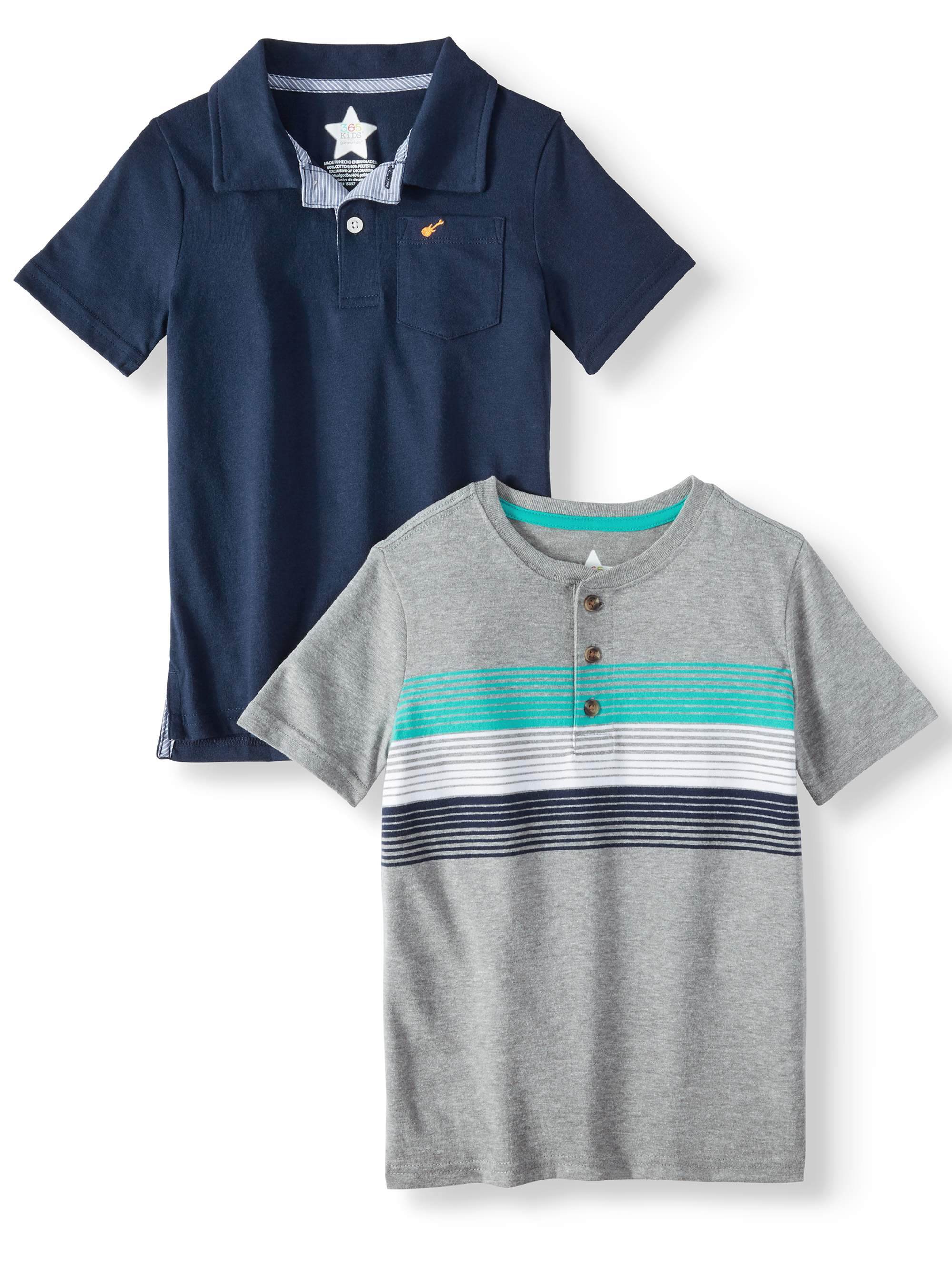 Polo Shirt & Henley Shirt, 2 Piece Multi-Pack (Little Boy & Big Boy)
