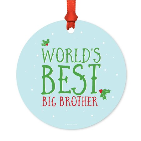Metal Christmas Ornament, World's Best Big Brother, Holiday Mistletoe, Includes Ribbon and Gift (Best Mental Math App)