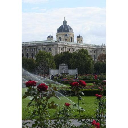 Herend Vienna Rose (Canvas Print Roses Park Building Vienna Austria Garden Stretched Canvas 10 x 14 )