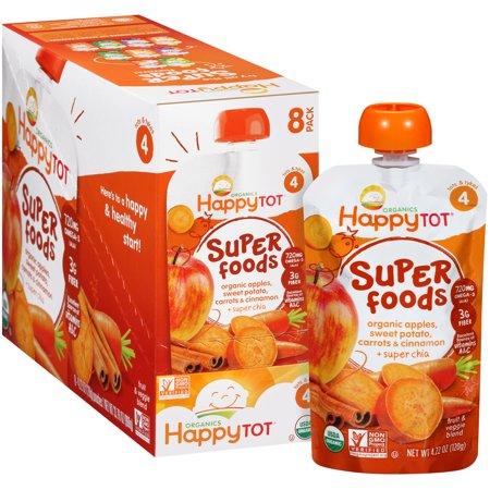 ((8 Pack) Happy Tot Organics Super Foods Apples, Sweet Potato, Carrots & Cinnamon + Super Chia Stage 2 Baby Food, 4.22 oz)