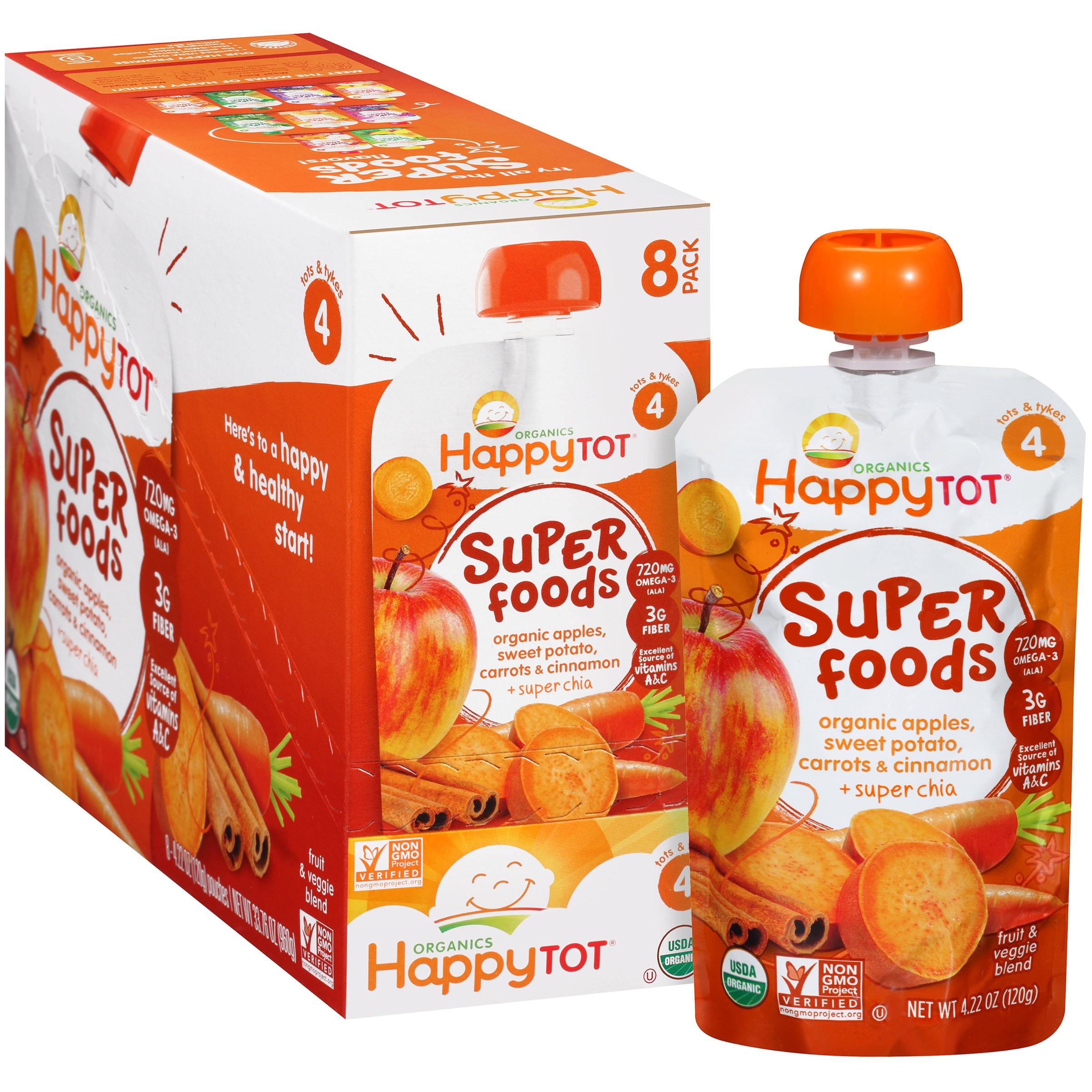 Happy Tot Organics Super Foods Apples, Sweet Potato, Carrots & Cinnamon + Super Chia Stage 2 Baby Food, 4.22 oz, 8 count