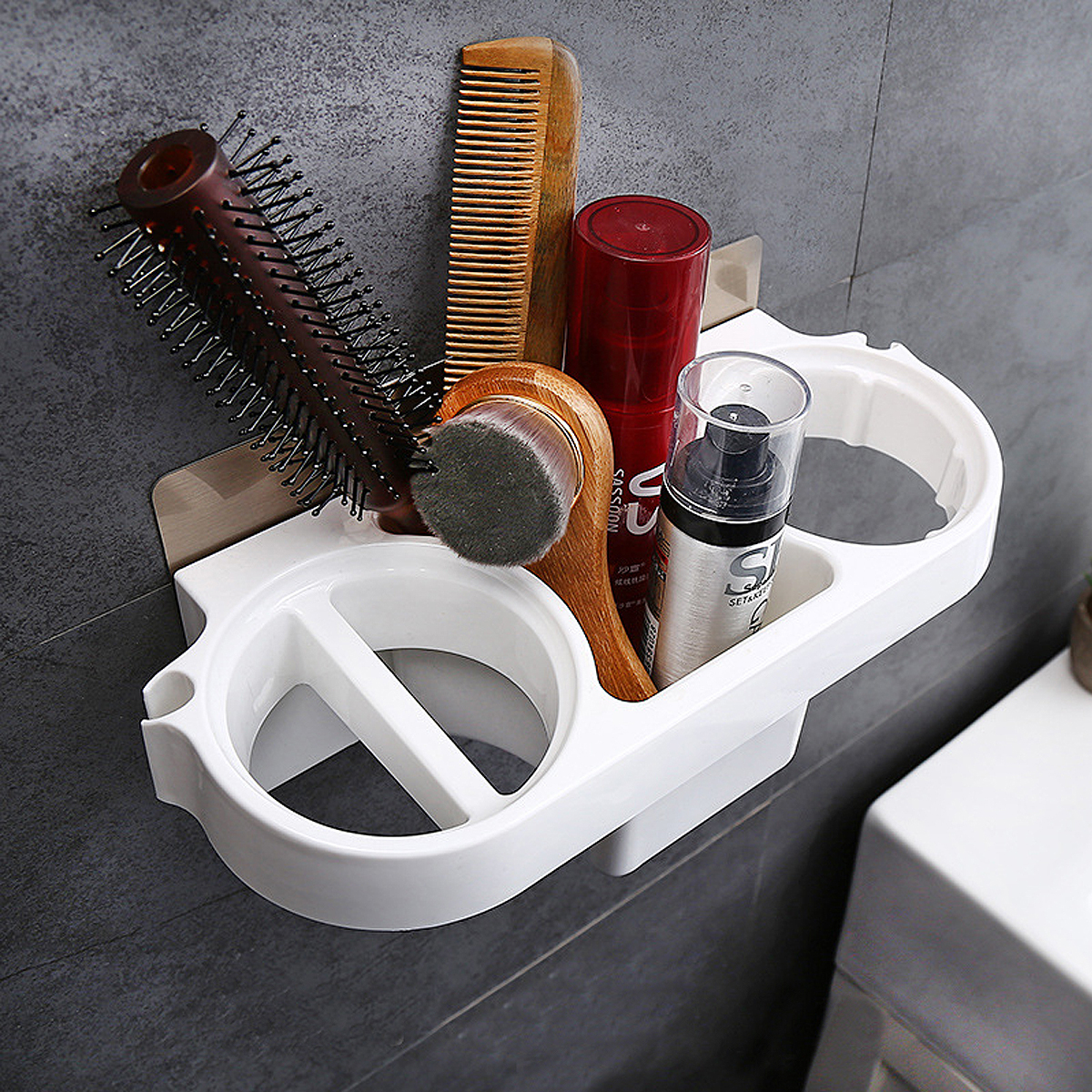Hair Dryer Rack Storage Organizer Comb Holder Bathroom Wall Mounted Stand Set US