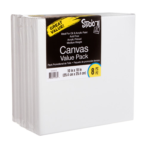 Studio 71 Stretched Canvas Value Pack: 10 x 10 inches, 8 Pack