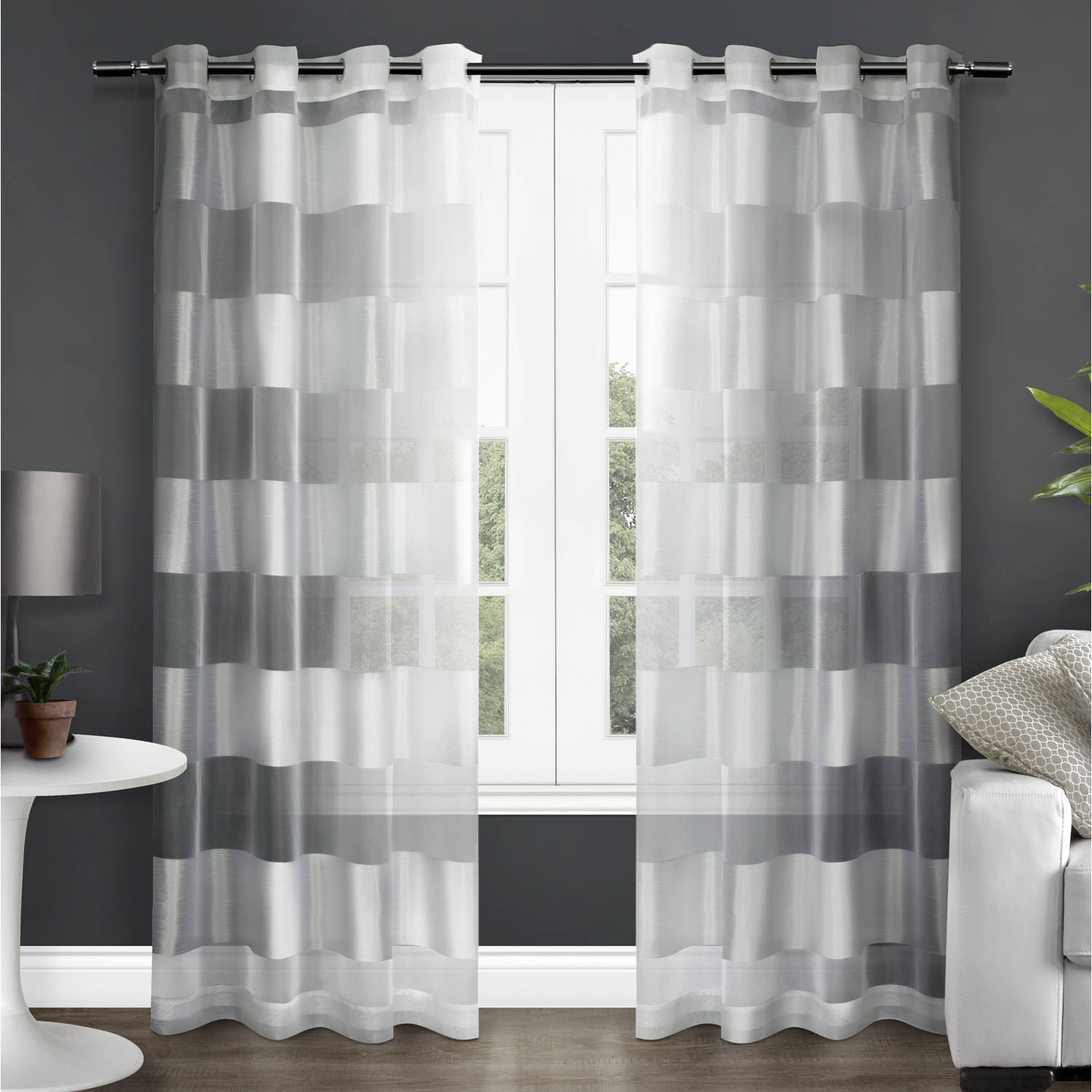 "Exclusive Home Navaro Striped Sheer Grommet Top Window Curtain Panels - 54"" X 84"", Sold as Set of 2 / Pair"