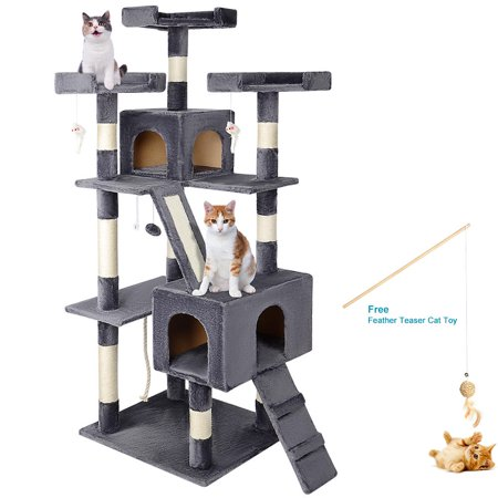 "68"" Cat Tree Cat Scratching Posts,Deluxe Kitten Play House with 2 Condos Natural Sisals, Grey - image 1 of 7"
