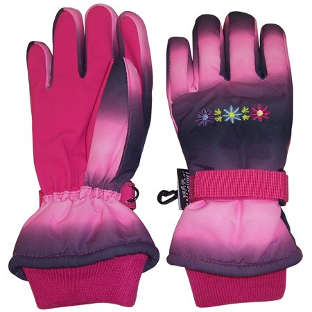 NICE CAPS Girls Waterproof and Thinsulate Insulated Multi Color Tye Dye Floral Ski Snow Winter Gloves - Fits Kids Youth Children Toddler Child For Cold Weather