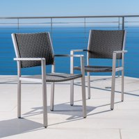 Miller Outdoor Wicker Dining Chairs with Aluminum Frame, Set of 2, Grey