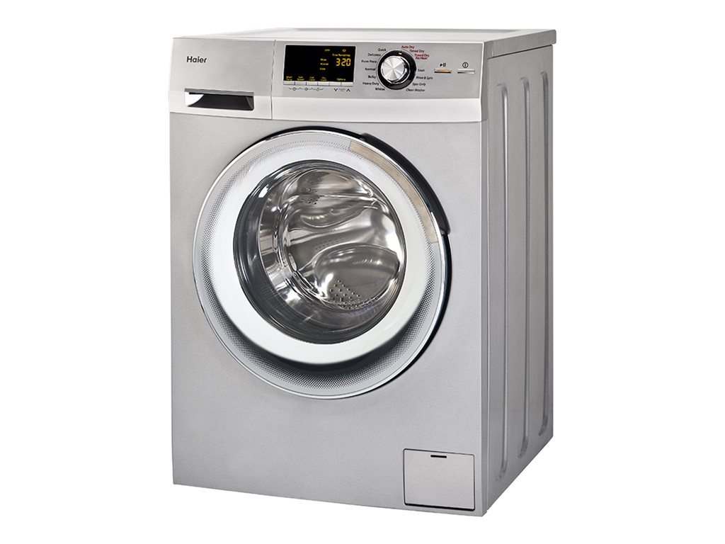 haier 24inch wide front load washer and dryer combination silver hlc1700axs