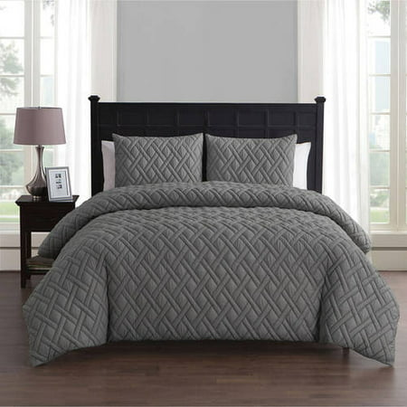VCNY Home Lattice Embossed 2/3 Piece Bedding Duvet Cover Set with Shams, Multiple Colors and Sizes (Beige Duvet Set)
