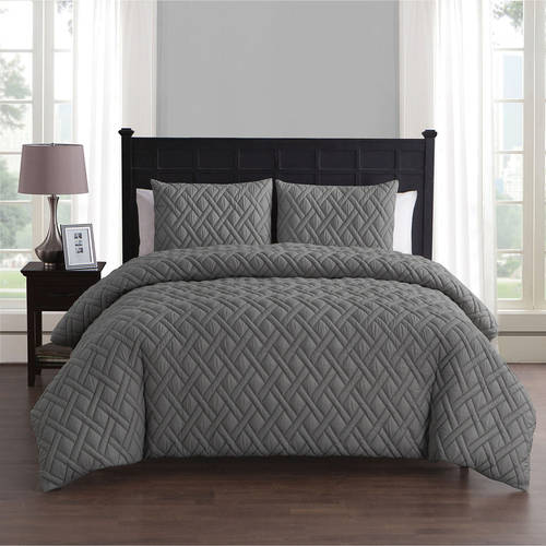 VCNY Home Lattice Embossed 2/3 Piece Bedding Duvet Cover Set with Shams, Multiple Colors and Sizes Available