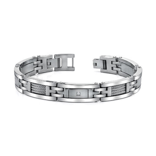 Oravo Mens Stainless Steel Bracelet with Twisted Cable Highlight