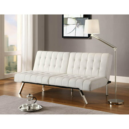 DHP Emily Convertible Futon Sofa Couch, Vanilla Faux Leather