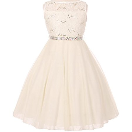 Double Wall Rod (Big Girls' Sparkling Sequin Lace Double Chiffon Flowers Girls Dresses Ivory 10 (C12CC12) )
