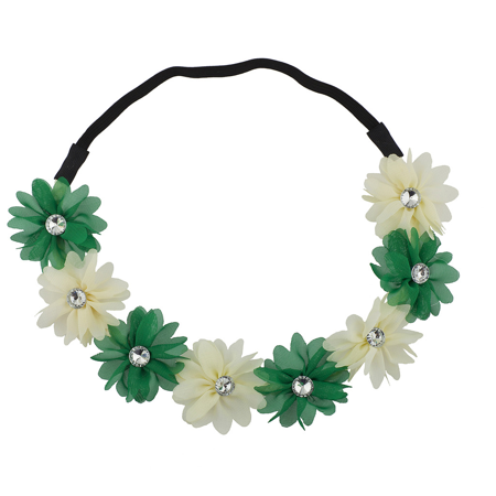 St Patrick's Day Accessories (Lux Accessories Green n White St. Patrick's Day Flower Chiffon Stretch)