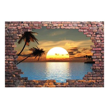 wall26 Large Wall Mural - Sunset at Tropical Sea Viewed through a Broken Brick Wall | 3D Visual Effect Self-adhesive Vinyl Wallpaper/Removable Modern Decorating Wall Art - 66