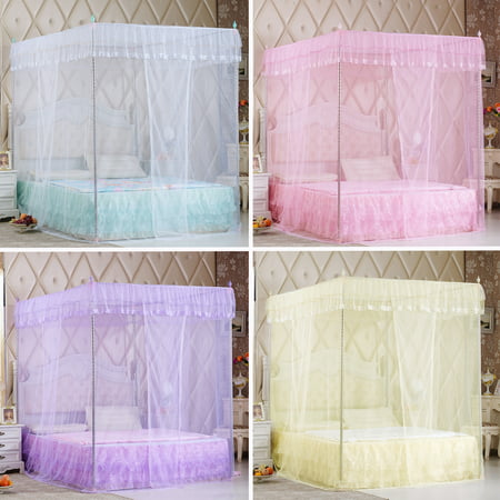 Luxury Princess Style Four Corner Post Mosquito Net Elegant Bed Netting Curtain Panel Bedding Canopy Queen King Sizes 4