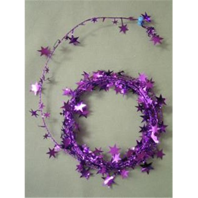 Party Deco 04910 25 ft. Purple Star Wire Garland - Pack of 12