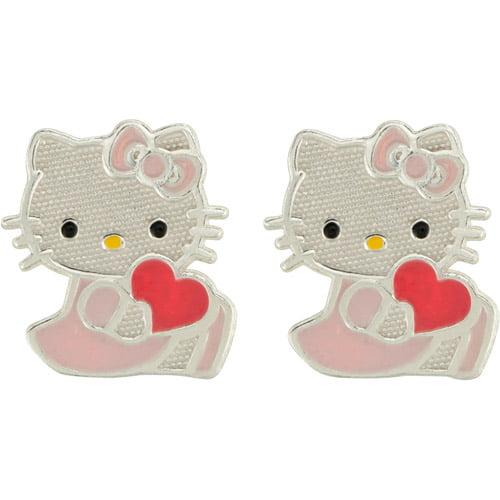 Hello Kitty Sterling Silver Stud Earrings