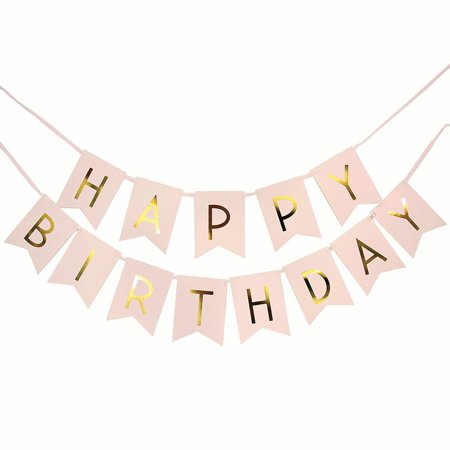 - Pink Happy Birthday Banner / garland with gold foiled Letter for birthday party decoration, garland (Pink & Gold)