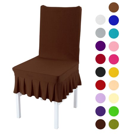 Stretchy Spandex Ruffled Skirt Short Dining Room Chair Covers Washable Removable Seats Protector Slipcovers Duck Short Dining Chair Slipcovers