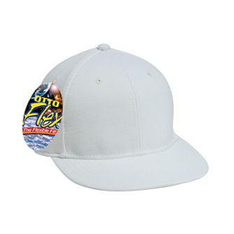 OTTO FLEX Wool Blend Twill Round Flat Visor 6 Panel Pro Style Baseball Cap - White (Flag Visor Pro Style Cap)