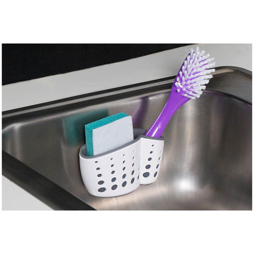 Clean Living Sink Caddy with Suction Cup, White
