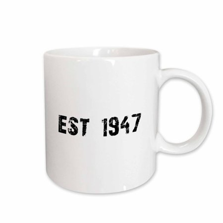 3dRose Grunge Est Established in 1947 - Forties Baby Born Child of the 1940s - Personal custom birth year, Ceramic Mug, 15-ounce