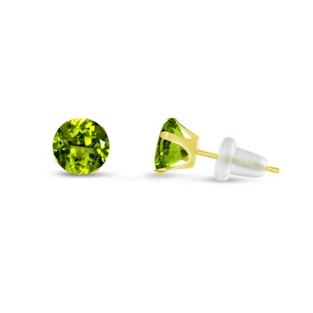 Round 5mm 10k Yellow Gold Simulated Peridot CZ Stud Earrings, August Birthstone, (1.58 cttw)