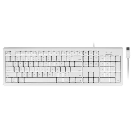 Macally Full-Size USB Wired Keyboard for Mac Mini/Pro, iMac Desktop Computer, MacBook Pro/Air Desktop w/ 16 Compatible Apple Shortcuts, Extended with Number Keypad, Rubber Domed Keycaps - Spill (Rubber Keyboard)