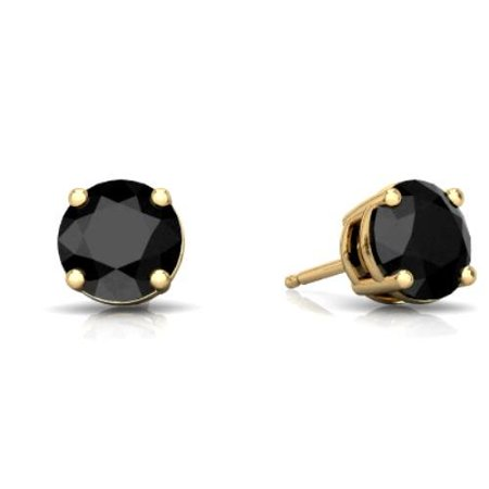 - 2 Ct Black Onyx Round Stud Earrings 14Kt Yellow Gold