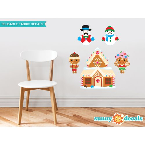 Sunny Decals Christmas Fabric Wall Decal with Gingerbread House