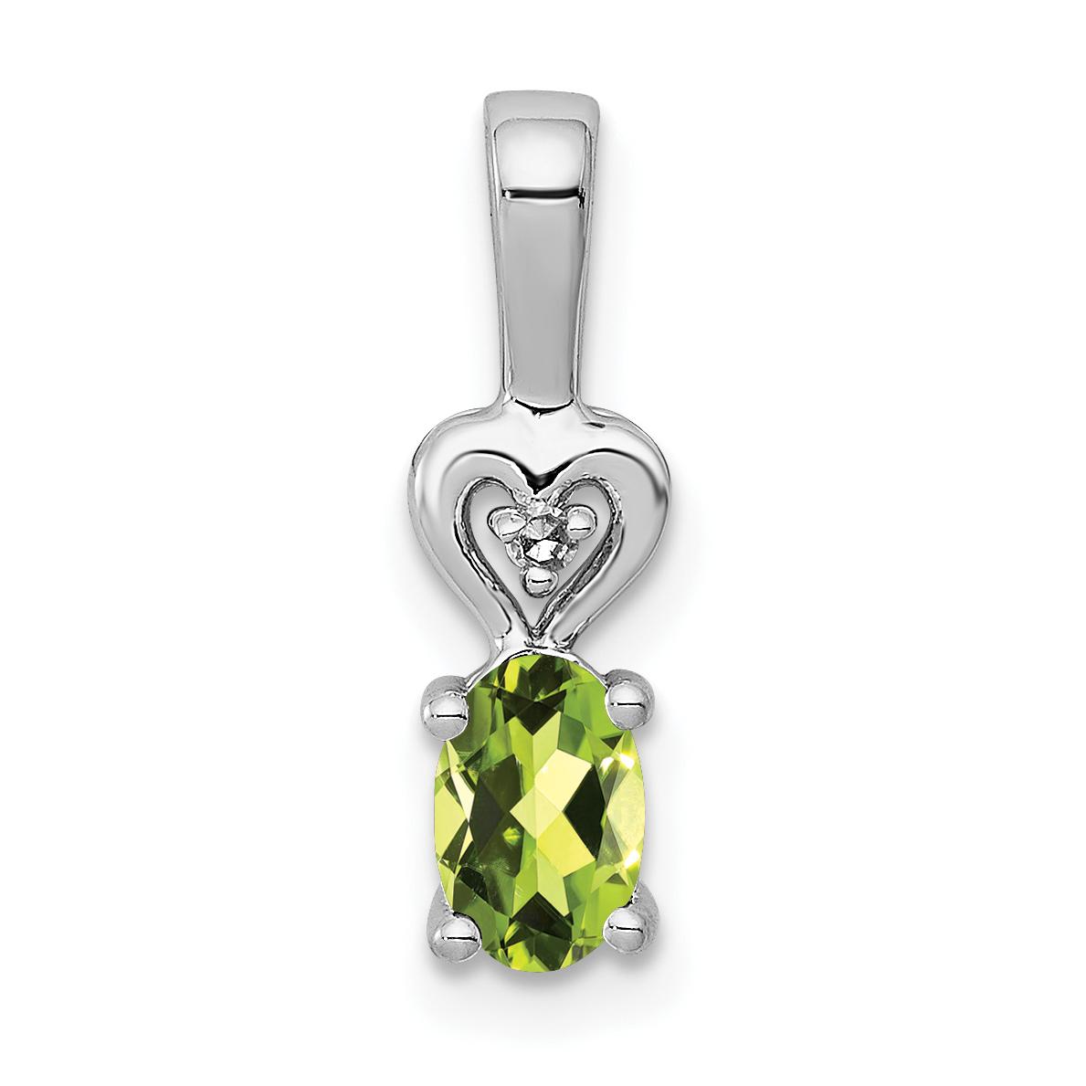 925 Sterling Silver Green Peridot Diamond Pendant Charm Necklace