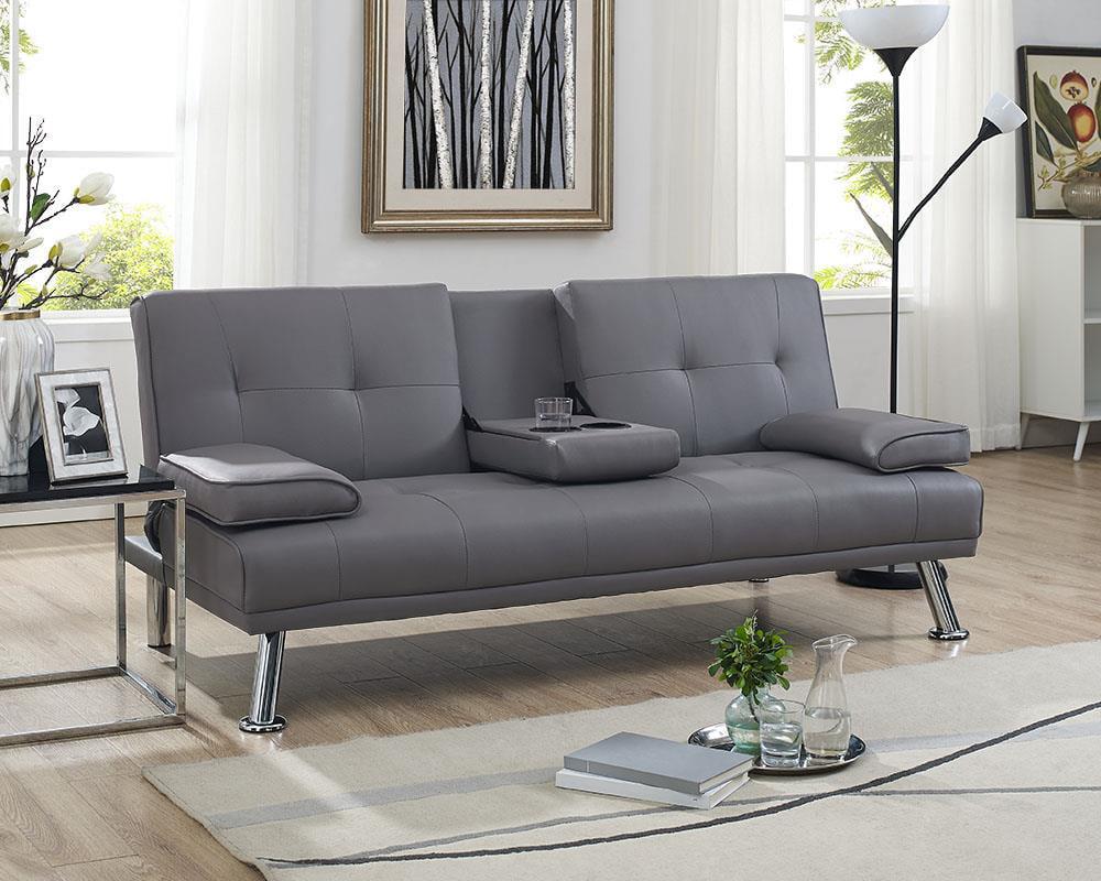 designer fashion 04cd3 3806d Naomi Home Futon Sofa Bed with Armrest-Color:Gray