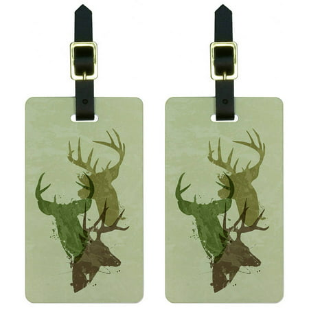 Deer Heads Design Hunting Hunter Camouflage Luggage Tags Suitcase ID, Set of - Design Luggage Tag Set