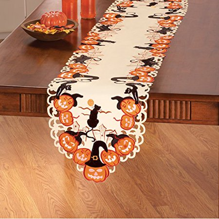 Cats And Pumpkins Halloween Table Linens Runner (Halloween Food Table Ideas)