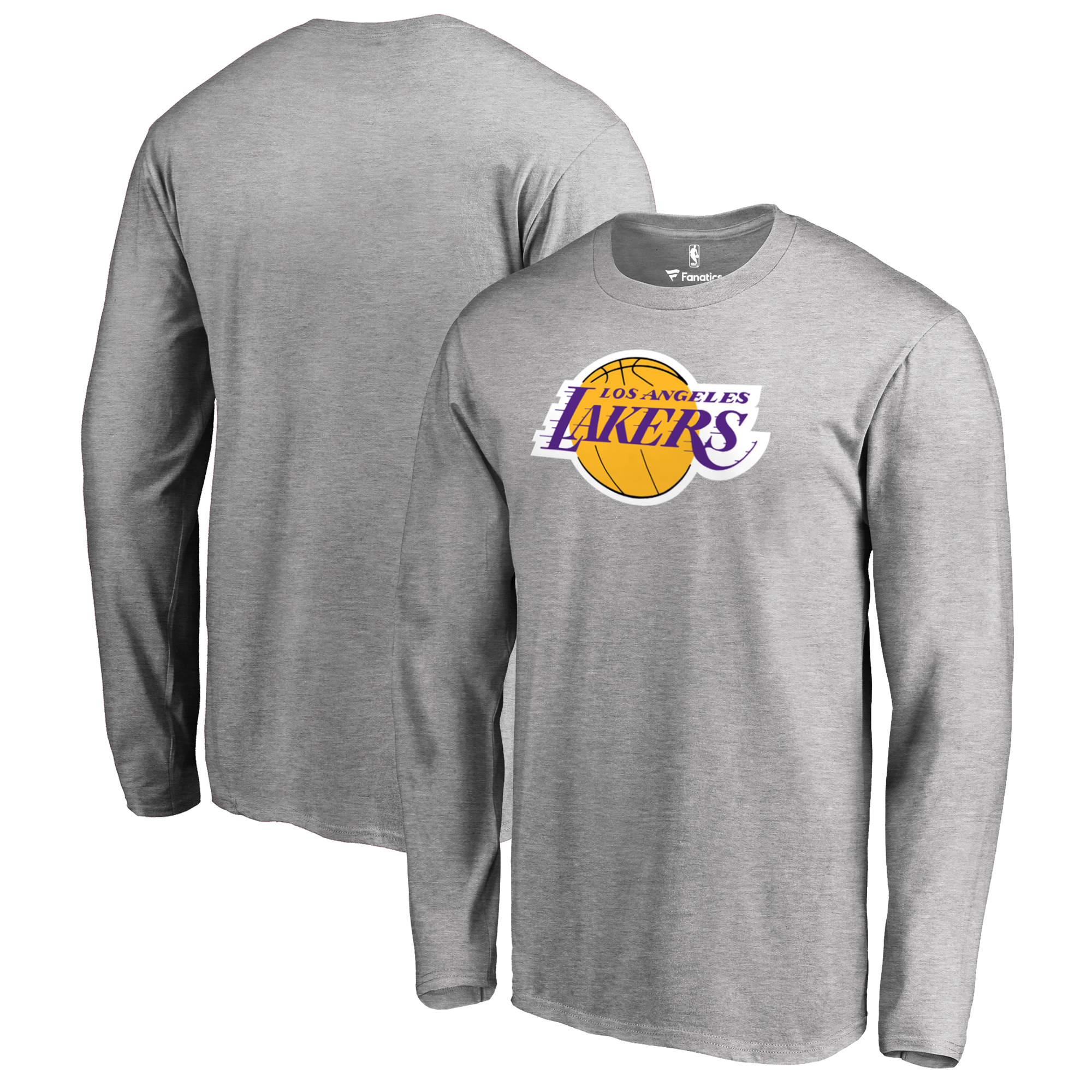 Los Angeles Lakers Fanatics Branded Big & Tall Primary Logo Long Sleeve T-Shirt - Heathered Gray