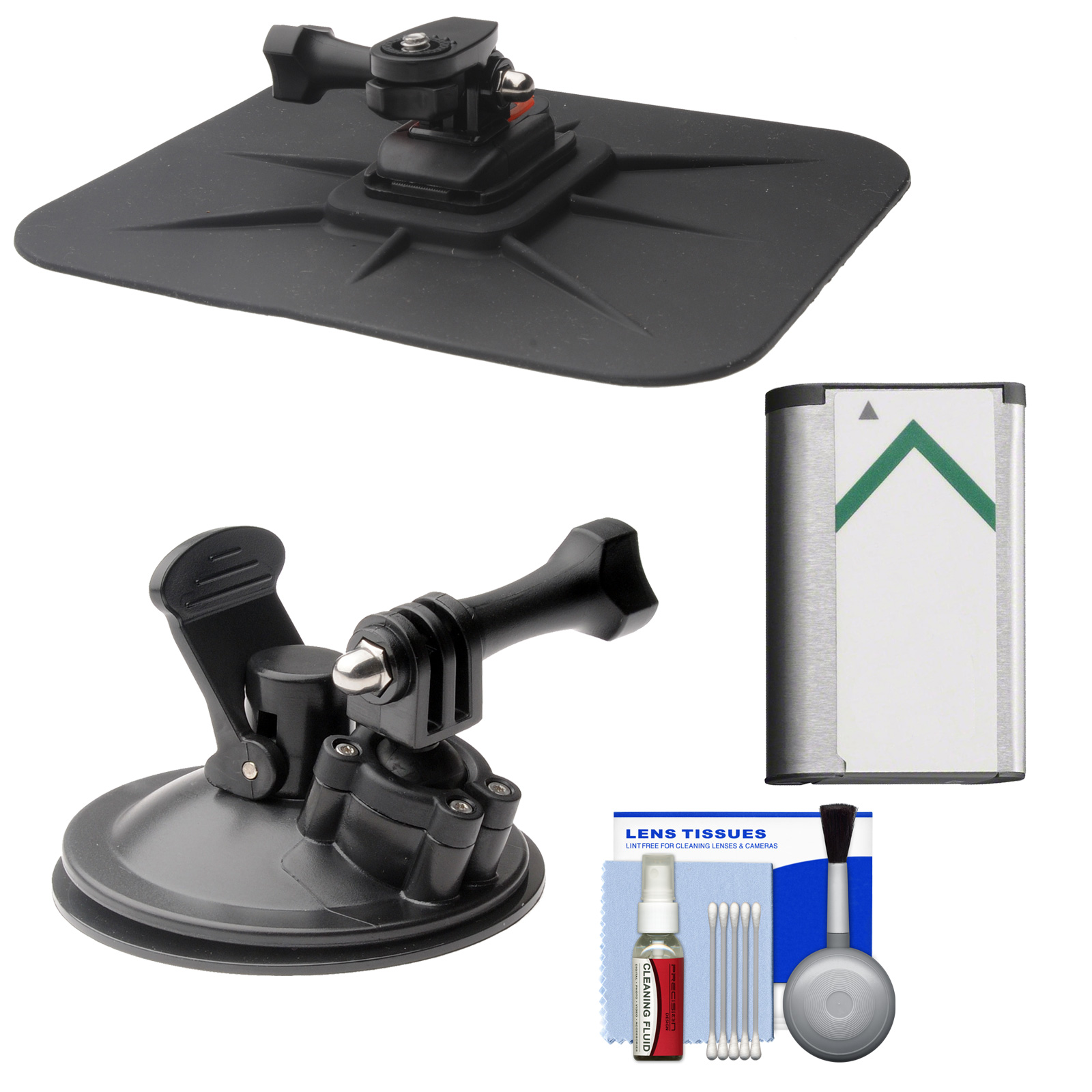 Essentials Bundle for Sony Action Cam HDR-AS20, AS50, AS100V, AS200V & FDR-1000X Camcorders with Car Suction Windshield & Dashboard Mounts + Battery + Cleaning Kit