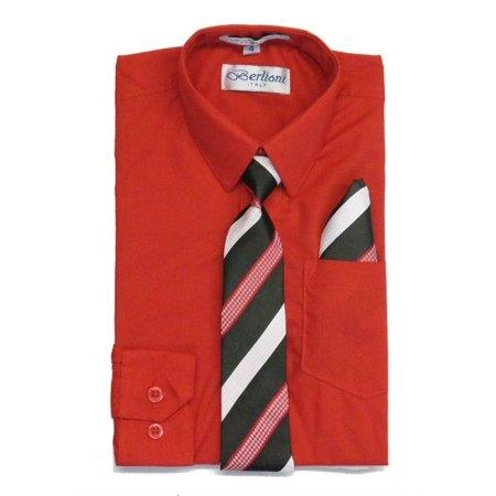 Berlioni Boys Red White Black Stripe Necktie Dress Shirt 2 Pc - Boys Red Dress Shirt